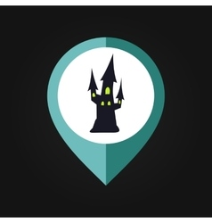 Halloween witch castle mapping pin icon vector