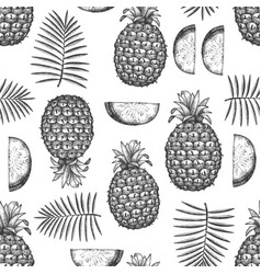 Hand drawn sketch style pineapple seamless vector