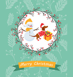 holiday postcard with funny dachshund and snowman vector image