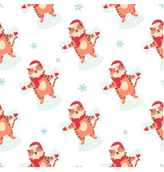 holiday seamless pattern with funny tigers making vector image
