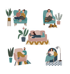 Home cozy relax set with people characters flat vector