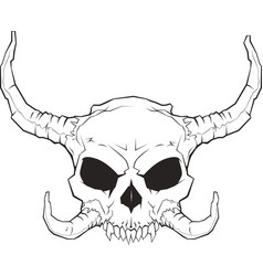 horned skull 001 2 vector image