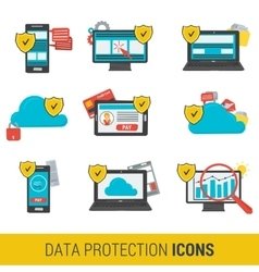 Icon set concept data protection vector
