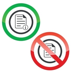 Information document permission signs vector