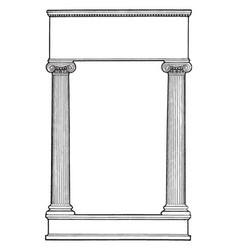 Ionic columns have two pillar left and right side vector