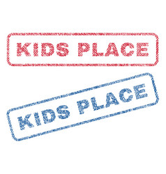 Kids place textile stamps vector