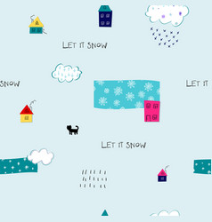 Let it snow flakes fall winter season pattern vector