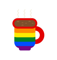 lgbt coffee house sign coffee cup gay flag vector image