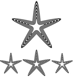 Line pentagram star logo design set vector