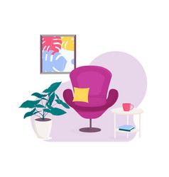 living room with armchair and table flowerpot vector image
