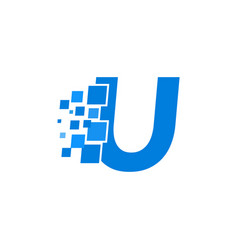 logo letter u blue blocks cubes vector image