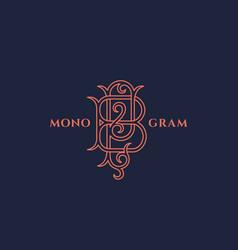 luxury monogram pb vector image