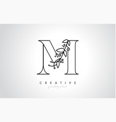 M letter logo with organic monogram plant leafs vector