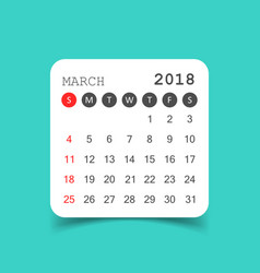 March 2018 calendar calendar sticker design vector