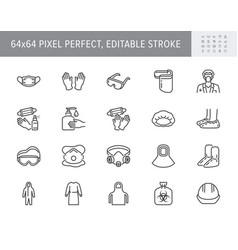 Medical ppe line icons vector