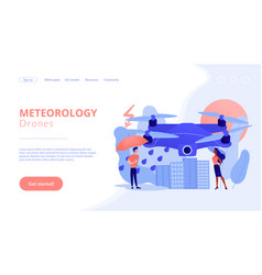 Meteorology drones concept landing page vector