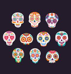 mexican calavera sugar skulls dia de los muertos vector image