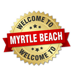 Myrtle beach 3d gold badge with red ribbon vector