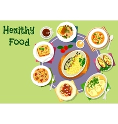 Nutritious dinner with meat and fish dishes icon vector