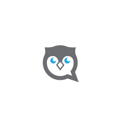owl head and face in a chat icon for logo design vector image
