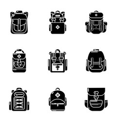 Packsack icons set simple style vector