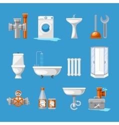 Plumbing sanitary engineering icons sink vector