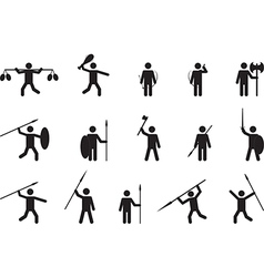 Primitive people with weapons vector image