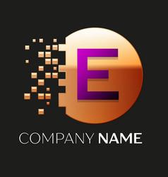 Purple letter e logo symbol in golden pixel circle vector