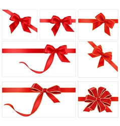 red gift bows vector image