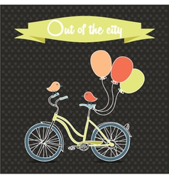 Retro poster with bicycle and balloons vector