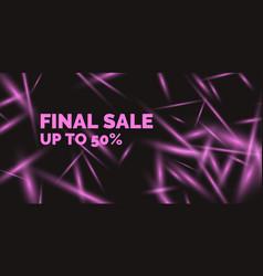 Sale banner original poster for discount neon vector