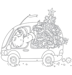 Santa carries a Christmas tree vector
