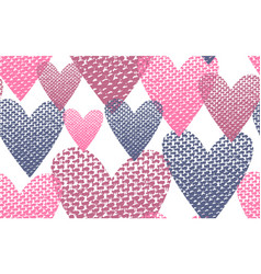 seamless pattern textile hearts background vector image