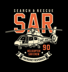 Search and rescue helicopter graphic vector