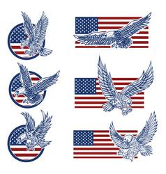set emblems with eagles on usa flag vector image