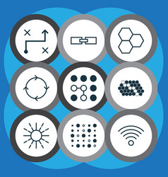 Set of 9 robotics icons includes variable vector