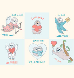 Set of cards with valentine sloths cards with vector