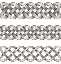Set silver celtic braids vector