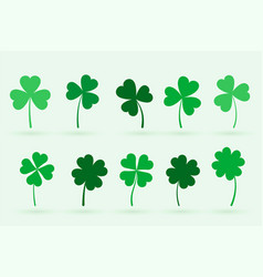 set ten clover leaves in flat style vector image