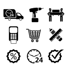 Shopping icons in black vector