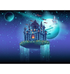 space castle with a waterfall on the background of vector image