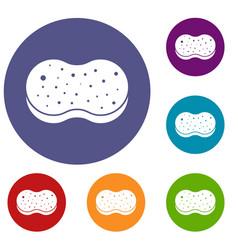 Sponge foam icons set vector