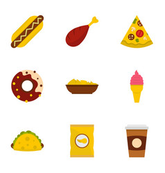 Street food icon set flat style vector
