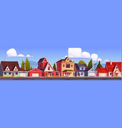suburb houses suburban street with cottages vector image
