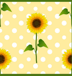 Sunflower on white polka dots yellow background vector