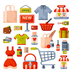 Supermarket grocery shopping flat style cartoon vector