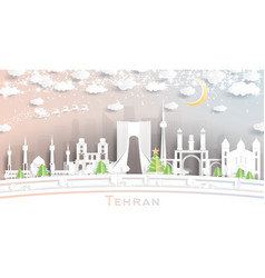 Tehran iran city skyline in paper cut style with vector