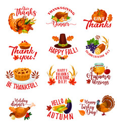 Thanksgiving day autumn holiday greeting cards vector