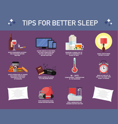 Tips for better sleep flat style design vector