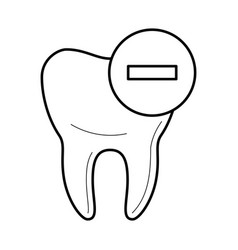 Tooth icon with negative mark icon vector